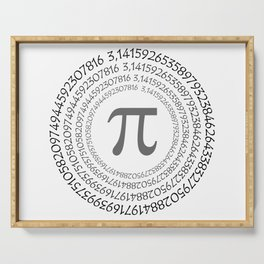 The Pi symbol mathematical constant irrational number on circle, greek letter, background Serving Tray