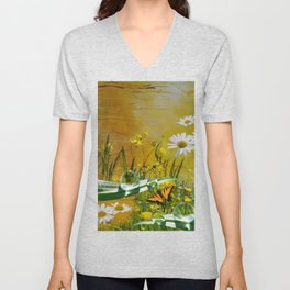 Yellow daisies and waterdroplets with butterfly by annmariescreations Unisex V-Neck