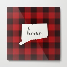 Connecticut is Home - Buffalo Check Plaid Metal Print