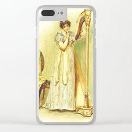 Harp, old book illustration, vintage poster Clear iPhone Case