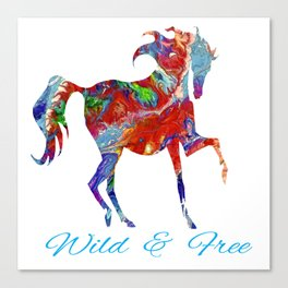 OLena Art Colorful Horse Design Wild and Free Canvas Print
