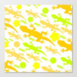 Lizards in yellow and green Canvas Print