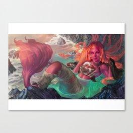 Mermaid and torn sails Canvas Print