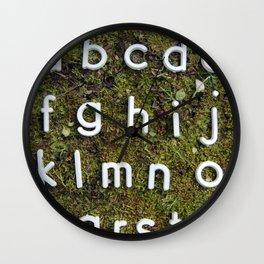 Alphabet Moss Poster Wall Clock