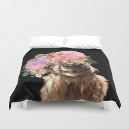 Highland Cow With Flower Crown Black Duvet Cover