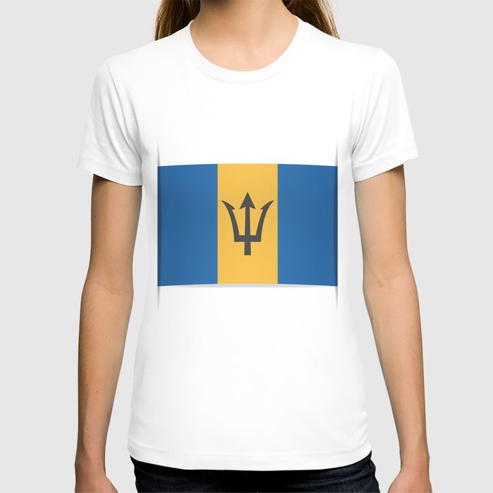Flag of Barbados. The slit in the paper with shadows. T-shirt