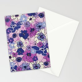 Red Violet and Navy Anemones Stationery Cards