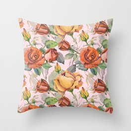 Blush pink orange brown watercolor roses floral Throw Pillow