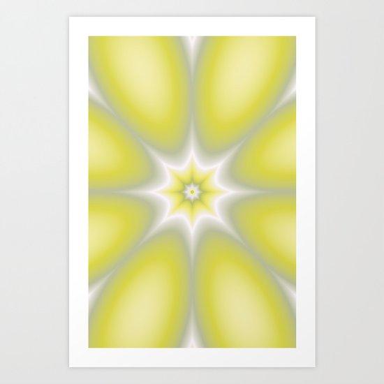 Yellow Abstract Flower Art Print