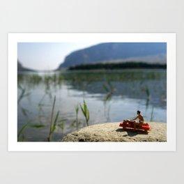 Suntan lotion and relax on the lake. Art Print