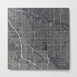 Tucson Map, USA - Gray Metal Print