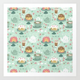 Pastel Cafe Mint Cream Art Print