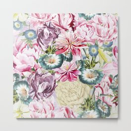 Vintage & Shabby chic -  Retro Spring Flower Pattern Metal Print
