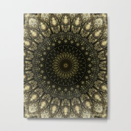 Detailed mandala in light and dark brown tones Metal Print