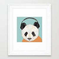 polkadot Framed Art Prints featuring Polkadot Panda by Sandra Dieckmann