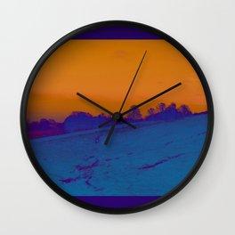 Mist and Moors- Orange & Evening Blue Wall Clock