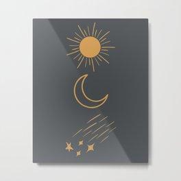 Sun, Moon and Stars Metal Print
