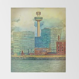 Albert Docks (Digital Art) Throw Blanket