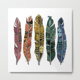 boho rainbow feathers Metal Print