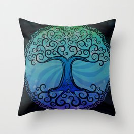 Tree of Life - Cool Blue Throw Pillow