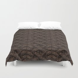 Brown Haka Cable Knit Duvet Cover