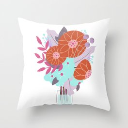Bright Floral Bouquet Illustration // Stylized Art, Tiny Vase, Red, Turquoise and Lavender Throw Pillow