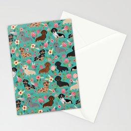 Dachshund florals flower pet portrait dog art dachsie doxie pet art dog breeds Stationery Cards
