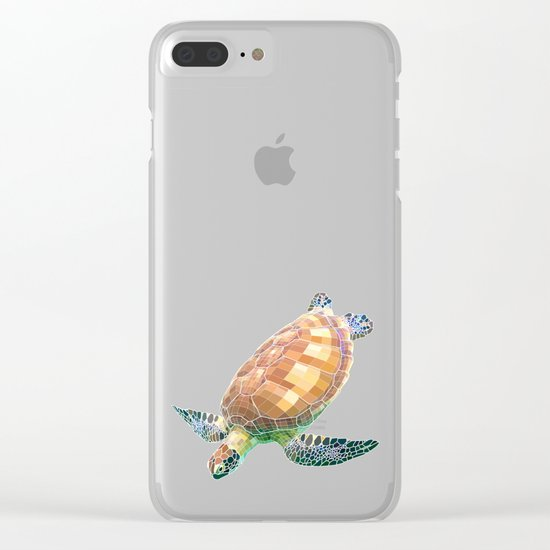 The Green Sea Turtle (Colored) Clear iPhone Case