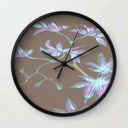 Japanese Leaves :Periwinkle Lavender Mint Wall Clock