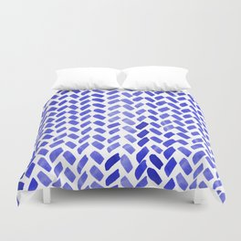 Cute watercolor knitting pattern - blue Duvet Cover