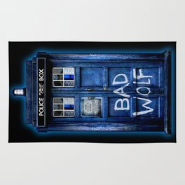 Phone box doctor with Bad wolf graffiti Rug