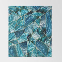 Turquoise Navy Blue Agate Black Gold Geometric Triangles Throw Blanket