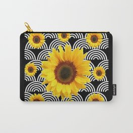 Decorative Black & Yellow Art Deco Sunflowers Carry-All Pouch