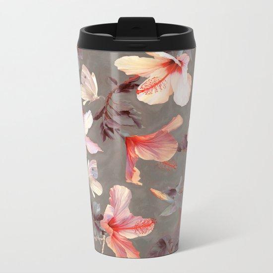 Coral Hibiscus Metal Travel Mug