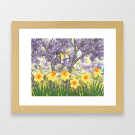 goldfinches, lilacs, & daffodils Framed Art Print