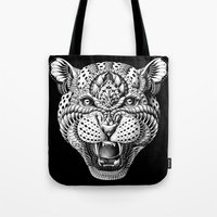 leopard Tote Bags featuring Leopard by BIOWORKZ