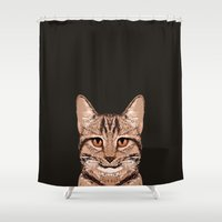 ripley Shower Curtains featuring Ripley - Tabby Cat cute cat gifts for cat people and cat lady gift ideas for the cat lover  by PetFriendly