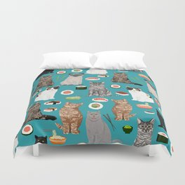 Cat breeds pure bred cats sushi kawaii pet gifts cat person must haves Duvet Cover