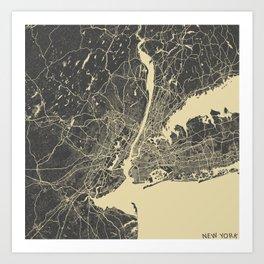 New York #2 map yellow Art Print
