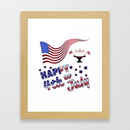 Happy 4th of July Flag & Cake - Independence Day Framed Art Print