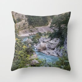 Walking by the river Throw Pillow