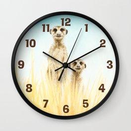 Curios Meerkats Wall Clock