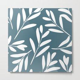 Prints of Leaves, White on Teal, Prints Design Metal Print