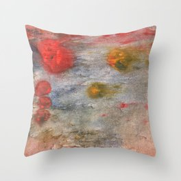 Rosy brown clouded wash painting Throw Pillow