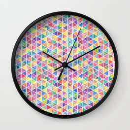 Colorful Watercolor Triangle Pattern Wall Clock