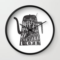 coffee Wall Clocks featuring COFFEE & LOVE by Matthew Taylor Wilson