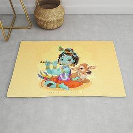 Baby Krishna with sacred cow Rug