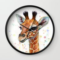 giraffe Wall Clocks featuring Giraffe Baby by Olechka