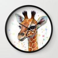baby Wall Clocks featuring Giraffe Baby by Olechka