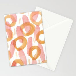Watercolor cicles and stripes abstract patter Stationery Cards